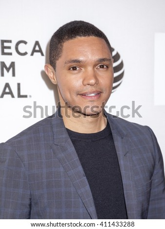 New York, NY, USA - April 20, 2016: Television, radio host Trevor Noah attends 'A Hologram For The King' premiere during the 2016 Tribeca Film Festival at the John Zuccotti Theater at BMCC Tribeca PAC - stock photo
