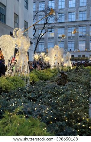 NEW YORK, NY, USA-DEC 26: Angels in Christmas season at NY, December 26, 2013 - stock photo