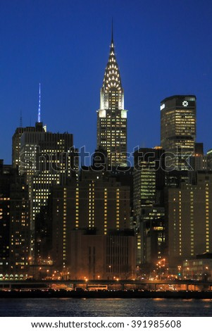 NEW YORK, NY, USA-DEC 16: Chrysler building, Night Skyline view of Manhattan from Long Island City, New York, December 16, 2013