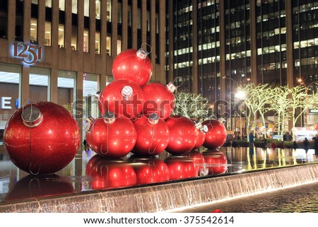 NEW YORK, NY, USA-DEC 4: Huge Christmas Ornaments in front of Radio City, December 4, 2013