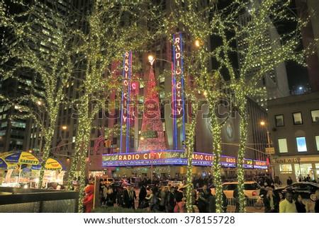 NEW YORK, NY, USA-DEC 4: Radio City in Illuminated trees, New York, December 4, 2012 - stock photo