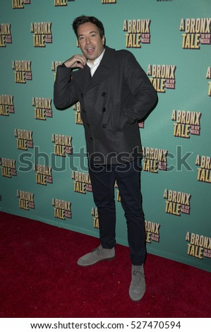New York, NY USA - December 1, 2016: Jimmy Fallon attends opening night for A Bronx Tale The New Musical at Longacre Theatre