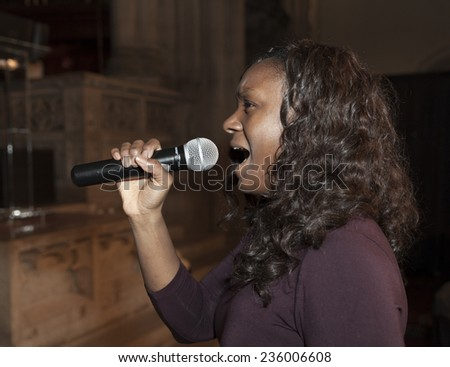 New York, NY USA - December 05, 2014: Zelma Davis performs on stage during rehearsal at United Against Ebola Benefit at Landmark on the Central Park West
