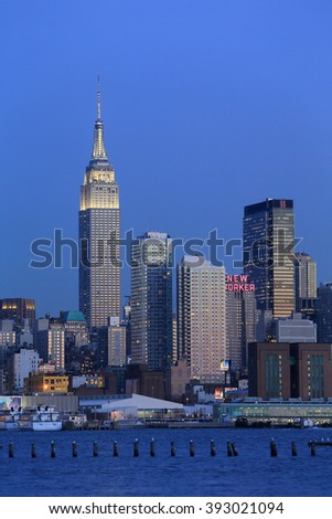 NEW YORK, NY, USA- FEB 26: Empire State Building, New York Skyline from NJ, February 26, 2014