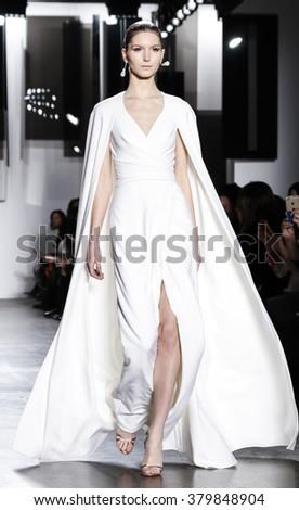 New York, NY, USA - February 12, 2016: A model walks runway at Pamella Roland runway show during of Fall/Winter 2016 New York Fashion Week at Pier 59, Manhattan. - stock photo