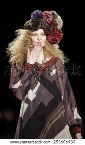 New York, NY, USA - February 12, 2015: A model walks runway for Desigual Fall 2015 Runway show during Mercedes-Benz Fashion Week New York at the Theatre at Lincoln Center, Manhattan