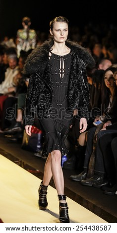 New York, NY, USA - February 14, 2015: A model walks runway for Herve Ledger by Max Azria Fall 2015 Runway show during Mercedes-Benz Fashion Week New York at the Theatre at Lincoln Center, Manhattan