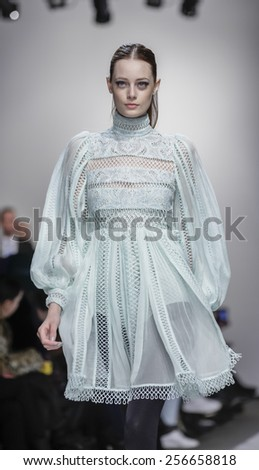 New York, NY, USA - February 13, 2015: A model walks runway for Zimmermann Fall 2015 Runway show during Mercedes-Benz Fashion Week New York at the ARTBEAM, Manhattan - stock photo