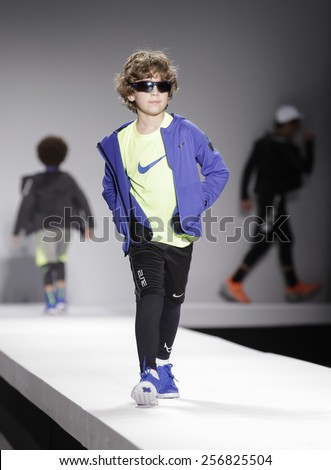 New York, NY, USA - February 12, 2015: A model walks the runway at the Nike Levi's Kids Rock runway show during Mercedes-Benz Fashion Week Fall 2015 at The Salon at Lincoln Center, Manhattan - stock photo