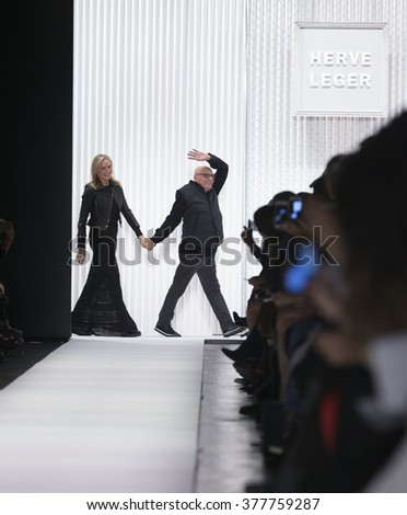 New York, NY USA - February 13, 2016: Max Azria & Lubov Azria walk runway for Herve Leger by Max Azria during New York Fall 2016 fashion week at Moynihan Station