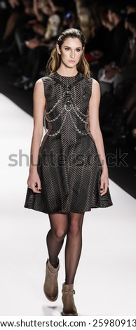 New York, NY, USA - February 19, 2015: Model walks runway for a Mister Triple X Fall 2015 collection at Art Hearts Fashion Presented By AHF fashion show during MBFW at The Theatre at Lincoln Center