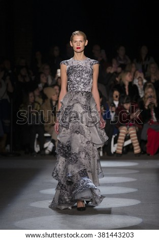 New York, NY USA - February 13, 2016: Model walks runway for Christian Siriano during New York Fall 2016 fashion week at Art Beam