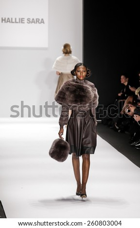 New York, NY, USA - February 19, 2015: Model walks the runway for Hallie Sara Fall 2015 collection at the Art Hearts Fashion Presented By AHF during MBFW at The Theatre at Lincoln Center - stock photo