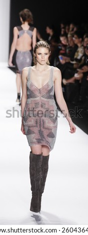 New York, NY, USA - February 19, 2015: Model walks the runway for House of Li Jon Fall 2015 collection at the Art Hearts Fashion Presented By AHF during MBFW at The Theatre at Lincoln Center