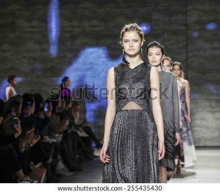 New York, NY, USA - February 17, 2015: Models walk runway for Lela Rose Fall 2015 Runway show during Mercedes-Benz Fashion Week New York at the Pavilion at Lincoln Center, Manhattan - stock photo
