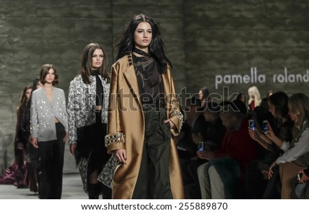New York, NY, USA - February 16, 2015: Models walk runway for Pamella Roland Fall 2015 Runway show during Mercedes-Benz Fashion Week New York at the Pavilion at Lincoln Center, Manhattan - stock photo