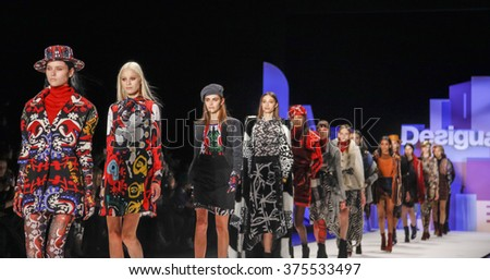 New York, NY, USA - February 11, 2016: Models walk the runway at the Desigual runway show during of Fall 2016 New York Fashion Week at The Arc, Skylight at Moynihan Station, Manhattan.