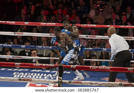 New York, NY USA - February 27, 2016: Terence Crawford fights Henry Lundy for WBO World Championship in Box Super Lightweight category at Madison Square Garden