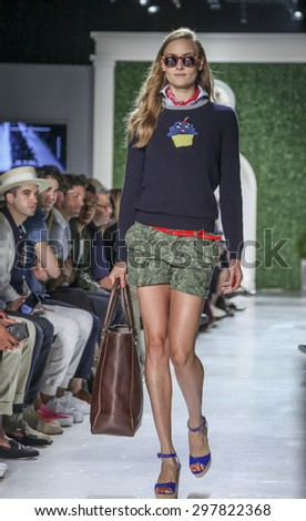 New York, NY, USA - July 15, 2015: A model walks runway at the Michael Bastian Runway show during New York Fashion Week: Men's S/S 2016 at Skylight Clarkson Sq, Manhattan - stock photo