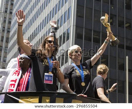 New York, NY USA - July 10, 2015: Carli Lloyd, Megan Rapinoe, Jill Ellis, Bill de Blasio  attend New York City Ticker Tape Parade For World Cup Champions U.S. Women Soccer National Team on Broadway - stock photo