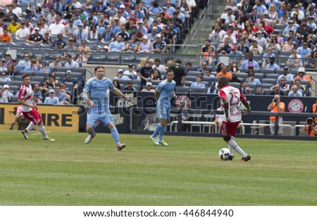 New York, NY USA - July 3, 2016: Chris Duvall (25) of New York Red Bulls controls ball during MLS soccer game against NYC FC at Yankee stadium NYC FC won 2 - 0