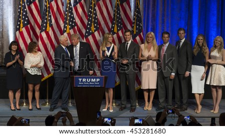 New York, NY USA - July 16, 2016: Donald Trump, Mike Pence and families on stage after introduction Governor Mike Pence as running for vice president at Hilton hotel Midtown Manhattan - stock photo