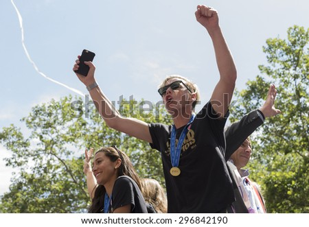New York, NY USA - July 10, 2015:  Hope Solo, Abby Wambach and Governor Andrew Cuomo attend New York City Ticker Tape Parade For World Cup Champions U.S. Women Soccer National Team on Broadway - stock photo