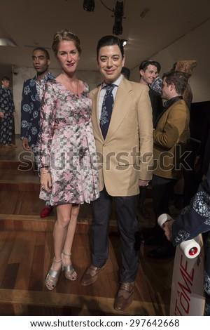 New York, NY USA - July 14, 2015: Malan Breton and models pose at Malan Breton presentation during Men's fashion week S/S 2016 at Taipei Economic & Cultural Office - stock photo