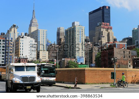 NEW YORK, NY, USA-JULY 5: Manhattan skyline with NEW YORKER SIGN, July 5, 2013