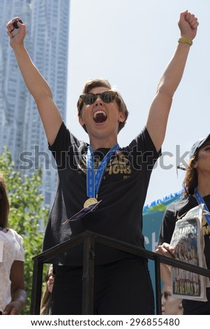 New York, NY USA - July 10, 2015:  Members of US National team attend New York City Ticker Tape Parade For World Cup Champions U.S. Women Soccer National Team on Broadway - stock photo
