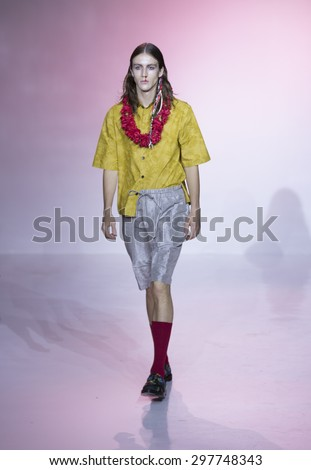 New York, NY USA - July 14, 2015: Model walks runway for Thaddeus O'Neil show during Mens fashion week S/S 2016 at Skylight Clarkson Square