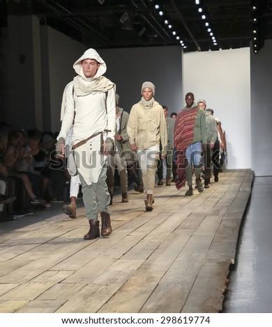 New York, NY, USA - July 15, 2015: Models walk runway at the Greg Lauren Runway show during New York Fashion Week: Men's S/S 2016 at Skylight Clarkson Sq, Manhattan - stock photo