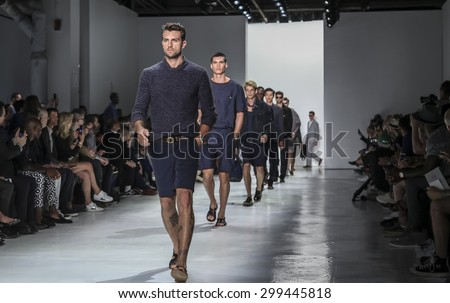 New York, NY, USA - July 14, 2015: Models walk runway at the Todd Snyder Runway show during New York Fashion Week: Men's S/S 2016 at Skylight Clarkson Sq, Manhattan