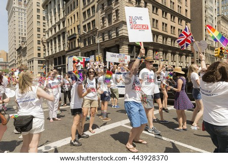 New York, NY USA - June 26, 2016: Atmosphere at 46th annual Pride parade to celebrate gay, lesbian and transgender community in New York city - stock photo