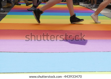 New York, NY USA - June 26, 2016: Atmosphere at 46th annual Pride parade to celebrate gay, lesbian and transgender community in New York city
