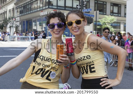 New York, NY USA - June 29, 2014: Atmosphere during annual 44th Pride Parade on Fifth Avenue with sponsor VitaminWater in Manhattan - stock photo