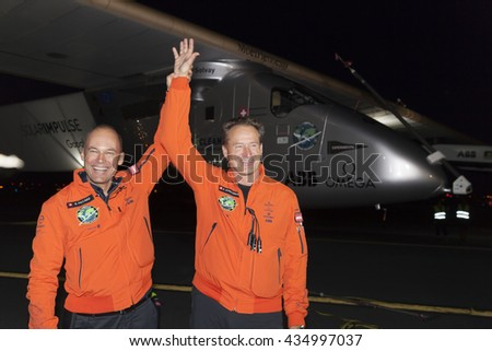 New York, NY USA - June 11, 2016: Bertrand Piccard and Andre Borschberg attend solar impulse plane landing at JFK airport in New York