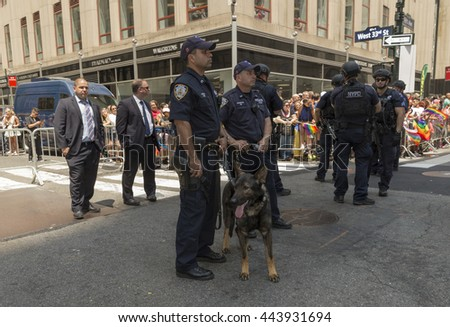 New York, NY USA - June 26, 2016: Counter terrorism police unit attend 46th annual Pride parade to celebrate gay, lesbian and transgender community in New York city