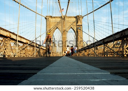 New York, NY USA  - June 18, 2010 - OCTOBER 24:Brooklyn Bridge :Brooklyn Bridge is one of the oldest suspension bridges in the USA.  - stock photo