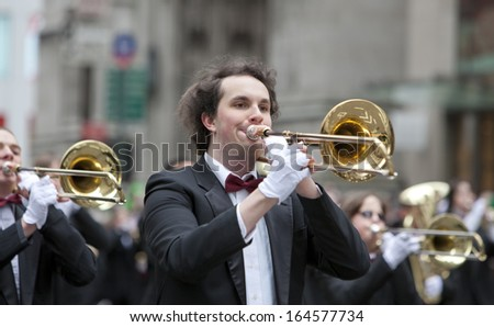 NEW YORK, NY, USA - MAR 16:  Band at the St. Patrick's Day Parade on March 16, 2013 in New York City, United States. - stock photo