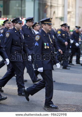 NEW YORK, NY, USA MAR 17: NYPD policemen at the St. Patrick's Day Parade on March 17, 2012 in New York City, United States.