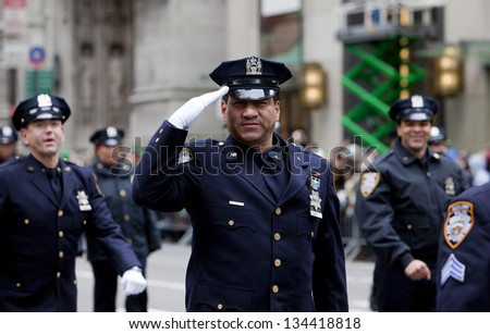 NEW YORK, NY, USA - MAR 16:  Police Department at the St. Patrick's Day Parade on March 16, 2013 in New York City, United States. - stock photo