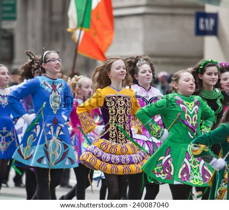 NEW YORK, NY, USA - MAR 17, 2014: The annual St. Patrick's Day Parade along fifth Avenue in New York City. - stock photo