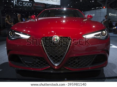 New York, NY USA - March 23, 2016: Alfa Romeo Giulia Quadrifoglio car on display at New York International Auto Show at Jacob Javits Center