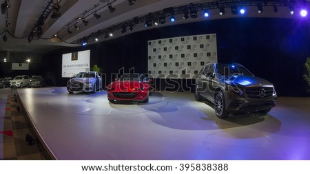 New York, NY USA - March 24, 2016: Atmosphere during world 2016 best car award ceremony at New York International Auto Show at Jacob Javits Center
