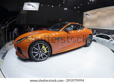 New York, NY USA - March 23, 2016: Jaguar F type 2017  car on display at New York International Auto Show at Jacob Javits Center - stock photo