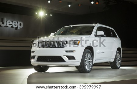 New York, NY USA - March 23, 2016: Jeep Grand Cherokee Summit car on display at New York International Auto Show at Jacob Javits Center