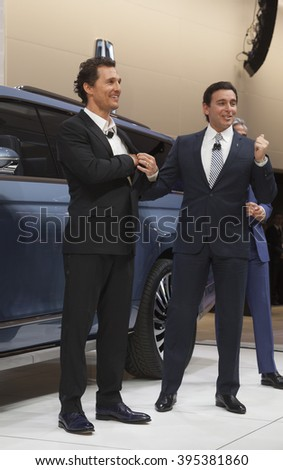 New York, NY USA - March 23, 2016: Matthew McConaughey & Mark Fields unveil Lincoln Navigator concept car at New York International Auto Show at Jacob Javits Center