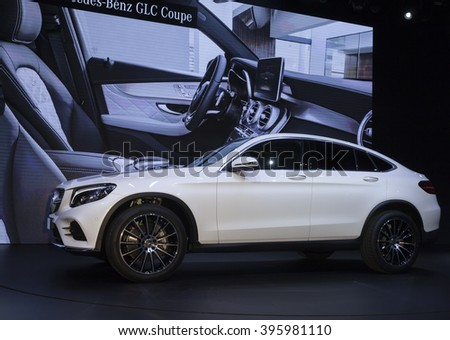 New York, NY USA - March 23, 2016: Mercedes GLC Coupe 2017 car unveiled at New York International Auto Show at Jacob Javits Center - stock photo