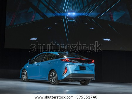 New York, NY USA - March 23, 2016: Unveiling Toyota Prius Prime 2017 at New York International Auto Show at Jacob Javits Center - stock photo